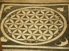 This mosaic lies on the floor of house 1a in Turkey, Ephesus, Curetes Street, near the Library of Celsius, 100BC