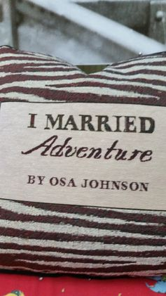 "True to the original colors and markings of Osa Johnson's book I Married Adventure The pillows are filled with all new materials, they measure 16"" square with black piping, and have a solid black material on the back. The price of this pillow is $32.50"