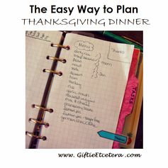 Giftie Etcetera: Project Thanksgiving: Planning A Potluck in a Planner --- Thanksgiving Dinner plans --- Using a Planner to Plan Thanksgiving Holiday