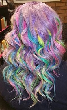 Pastel Surprise // Sand Art Rainbow Hair Color Ideas