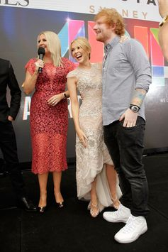 Kylie Minogue and Ed Sheeran dance on the red carpet ahead of the 29th Annual ARIA Awards 2015 at The Star on November 26, 2015 in Sydney, Australia.