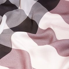 An Italian-made lightweight silk scarf in check with a slim block colour border.