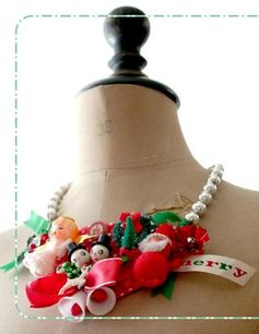 "vintage ornaments upcycled: tacky Christmas necklace, Inspired Ideas, The Christmas IssueNEED IDEAS FOR A FUN UGLY CHRISTMAS SWEATER PARTY check out ""THE HOW TO PARTY IN UGLY CHRISTMAS SWEATER BOOK"" at Amazon.com-"