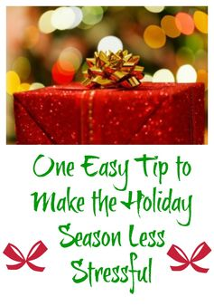 If your goal is to have a more peaceful, less stressful holiday season, here's a fabulous tip that will help you reach your goal and save money in the process.