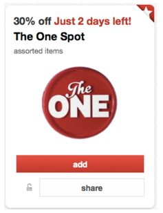 Target:  Back Again!  Rare 30% off The One Spot Cartwheel Offer!