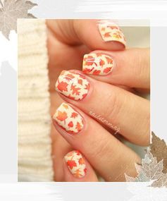 More Fall Leaves Nail Art