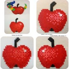 Manzana Apple hama beads by Laguna de Anilina