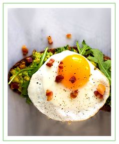 Bacon Egg Avocado Toast with Arugula