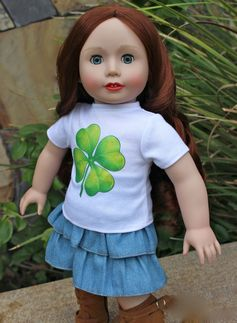 Celebrate St. Patricks Day with a Harmony Club Dolls Lucky Clover 18 inch Doll outfit that fits American Girl. Visit our online store at www.harmonyclubdolls.com