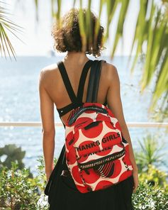 Thanks Girls!! Our seasonal summer print is emblazoned on recycled nylon backpacks in the new #FalabellaGO collection.  Shop now at #StellaMcCartney.com.