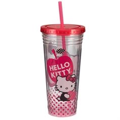 Hello Kitty double walled acrylic travel cup with bold and bright designs.  Insulated Double Wall Design Resists Condensation Screw-on Lid with Reusable Straw BPA Free