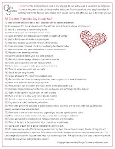Printable Page with 32 Creative Ways to Say I Love You!