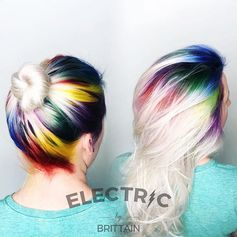Feeling the vibes of these #rainbowroots by @styleelectric. Would you try this look out? #rainbowhair #haircolor #hairstyle #hairdye