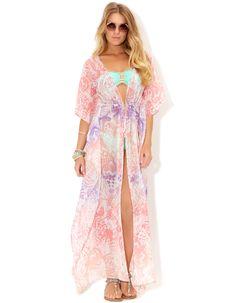 Ombre Butterfly Maxi Kimono   Pink   Accessorize