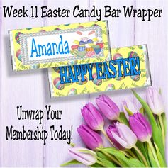 Have a happy easter with this personalized candy bar wrapper.