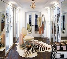 Lauren Conrad's Parisian boutique-inspired wardrobe with zebra hide and Louis XVI chair.