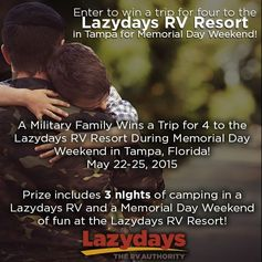 Enter to win a stay at the #Lazydays #RV Resort in #Tampa for #MemorialDay Weekend in honor of #NationalMilitaryAppreciationMonth! http://a.pgtb.me/XCQJRM
