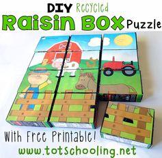 DIY Recycled Raisin Box Puzzle #totschool