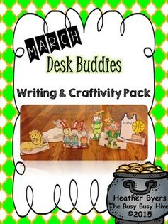 March Desk BuddiesDesk Buddies are a unique writing and craftivity product.Each monthly packet will have at least 4 different desk buddy crafttivities.  Each desk buddy also comes with 5 different writing pages. *circle thinking map*5 senses writing box page*Can, Have, Are map*Story map-topic, details 1,2,3, closing*Themed lined writing pageThese pages can be used as daily writing pages in a writing center, time fillers, morning work, homework, or for early finishers.The different types of ...