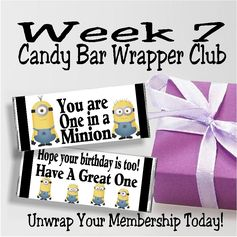 Let your favorite Minions wish your friends a Happy Birthday with this One in a Minion candy bar wrapper printable in Week 7 of the Candy Bar Wrapper Club