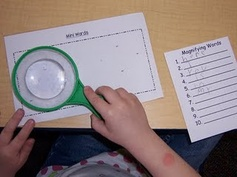 Use a magnifying glass to read tiny words, then record the words. Fantastic!