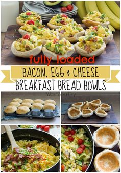 Bacon Egg and Cheese Breakfast Bread Bowls - Enjoy these on the weekend or make ahead for a quick weekday breakfast.