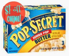 Pop-Secret:  Rare $1 off ANY Popcorn!  No Size Restrictions! 5 Links!