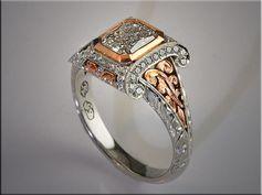 p507  14K White and Rose Gold Custom Remont for Customer's Radiant Cut Center Diamond, with 3-D style Scroll and Hand Engraved Sides.  Design by RonLitolff