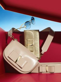 Subtle neutrals with a fashionable presence. From the exclusive Ferragamo Holiday collection, leather accessories featuring a modern take on the iconic Vara bow and the perfect sunnies to complement them.  holiday.ferragamo.com/