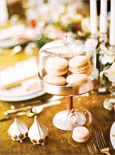 blush pink macarons and gold stand