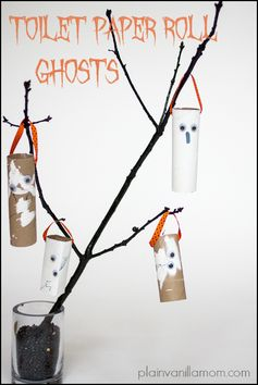 Toilet Paper Roll Ghosts