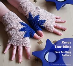 Xmas Star Mitts: Free knitting pattern by Knitting and so on