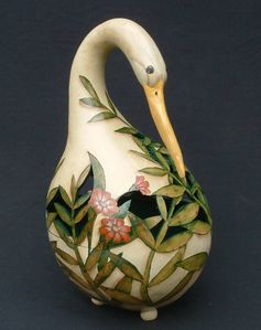 gourd decorated with a crane