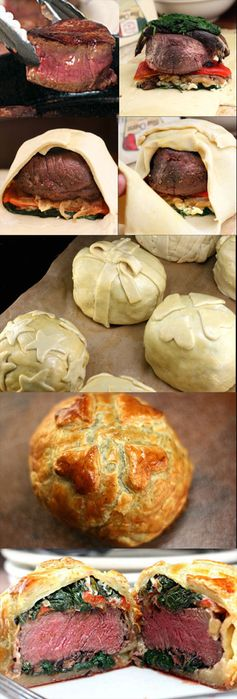 Recipe for Individual Beef Wellingtons with Mushroom, Spinach, Roasted Pepper, and Blue Cheese Filling. Decorate them like little gifts for the holidays! #recipe
