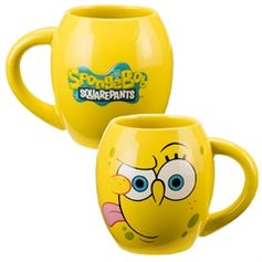 A beautiful 18 oz. Ceramic Oval Mug staring our favorite little sponge that lives under the sea. #SpongeBobSquarePants #VandorLLC