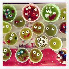We made these jello monsters again this year, with a slight twist - aren't they cute? A fun way to let your kids get creative in the kitchen! #cookingwithkids