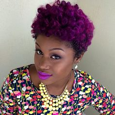 purple hair, colorful hair, black girl, makeup inspiration, black womens hairstyle, short hair, short afro, cute