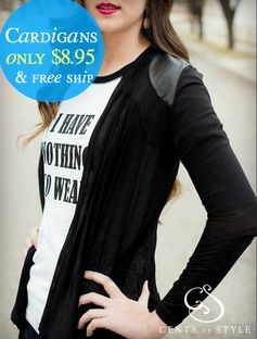 Cents of Style:  Leather Detail Cardigans = $8.95 + FREE Shipping! Regularly $29.95!