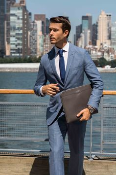 Adam Gallagher pairs his Grand Prix timepiece with impeccable spring tailoring