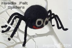 Needle Felt Spiders - Halloween