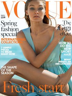 Gigi Hadid looking flowless in Fendi on Vogue Uk's cover, March 17