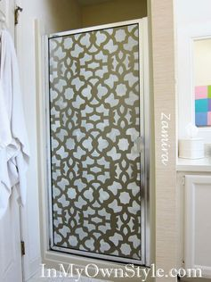 stenciled glass shower door