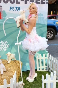 Courtney Stodden poses in a mini-dress and stockings for PETA.
