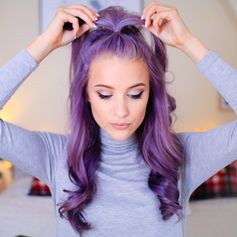 "Purple hair ""My four favourite curly hairstyles are now on www.youtube.com/inthefrow  Click the link in my bio to watch """