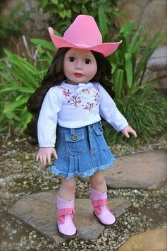 "Harmony Club 18"" Doll, Melody Rose, in a stylish Western Outfit for 18"" dolls and American Girl. Visit our online store at www.harmonyclubdolls.com"
