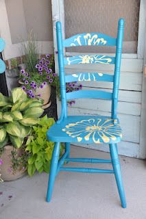 Chair Makeover - a great way to add color to your home . For color help on what colors to add to your decor check out the Color911 app for color inspiration ! #Color #DIY