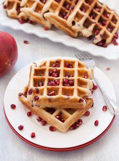 Gluten Free Vanilla Pomegranate Waffles - Light, crispy waffles for breakfast or brunch!