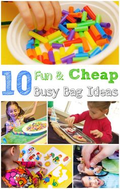 10 Cheap Busy Bag Ideas for Kids -- love these ideas to keep kids entertained!! #kids #parenting