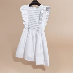 A dainty cotton dress with ruffle and pleat detailing and a gathered waist. Pair with high-top trainers for a casual look.