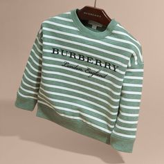 A cotton sweatshirt printed with stripes and embroidered with Burberry lettering. Team the classic design with shorts and high-top trainers for an easy weekend look.